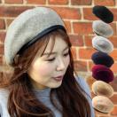 ベレー帽 レディース 帽子 パイピングベレー帽 アーミーベレー帽 ミリタリーベレー帽  秋冬 冬