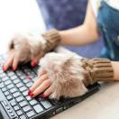 手袋 指なし ファー スマホ かわいい 防寒 あたたか DM便 lw-026