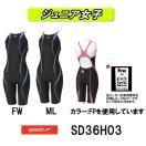 SD36H03 SPEEDO(スピード) ジュニア女子競泳水着 FLEX Cube ジュニアオープンバックニースキン) 子供用/競泳/FINA承認
