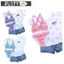 ラスティRUSTYセパレート水着女の子ジュニアTシャツ&デニムパンツ付スイムウェア4点セット96780518SS