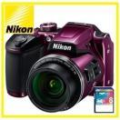 今ならSDHCカード8GB差し上げます【送料無料】Nikon・ニコン チルト式液晶光学40倍ズーム COOLPIX B500 プラム