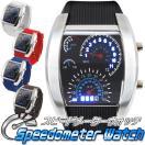 【限定セール】スピードメーター型 メンズ腕時計 LEDデジタルウォッチ 電池付き 液晶明るさ調整/カレンダー表示 日本語説明書付 ◇ スピードメーター ウォッチ