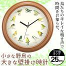 壁掛け時計 おしゃれ 鳥のキレイな鳴き声で時間をお知らせ インテリア時計 12種類バードクロック 小さな野鳥の大きな壁掛け時計 ビッグサイズ ◇ 野鳥の掛け時計