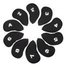 ■送料無料■ゴルフ アイアンカバー ヘッドカバー セット 番手付き 10セット 黒色 ブラック ヘッドカバー クラブ シンプル おしゃれ