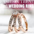 リング 指輪 レディース あすつく 大きいサイズ プレゼント 3点セット K18