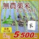 米 無農薬米 コシヒカリ 玄米 5kg(1kg×5袋)/アイガモ米 自然栽培米 新潟米 エコ包装