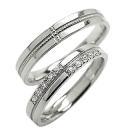 結婚指輪 ペアリング クロス ダイヤモンドリング ホワイトゴールドK10 ミル打ち マリッジリング