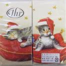 ペーパーナプキン[メール便OK][ハンキー]x単品 サンタキャット クリーム[Ihr]クリスマスパーティーペーパーナフキン・紙ナプキン