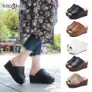 サンダル レディース ミュール サボ ハイヒール ウェッジソール 厚底 オープントゥ 黒 歩きやすい 疲れにくい スリッパ 靴 kilakila