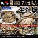 北海道厚岸産 殻付き 生牡蠣 ガンガン焼セット LLサイズ×20個 カキナイフ・軍手付【産地直送】(120~150g未満/個) カキ かき