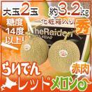 """【送料無料】北海道 赤肉メロン """"らいでんレッドメロン"""" 2玉 約3.2kg 化粧箱【予約 7月以降】"""
