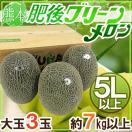 """【送料無料】熊本産 """"肥後グリーン"""" 大玉5L以上 3玉 約7kg以上【予約 5月末以降】"""