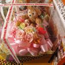 クリスマスプレゼント 花 ディズニー フラワーギフト プリザーブドフラワー ダッフィー ぬいぐるみ レインボーローズ3 ケース付き