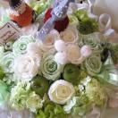 クリスマスプレゼント 花 フラワーギフト ホワイト&グリーンのスペシャルなプリザーブドフラワー