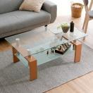 テーブル センター ガラス製 長方形 アジアン モダン サイドテーブ 木製脚 リビング ローテーブル シンプル 強化8mm