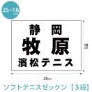 ソフトテニスゼッケン3段組 W25cm×H18cm(H21年~仕様)