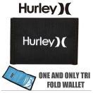 ハーレー Hurley 三つ折り 財布 コンパクト ウォレット HURLEY ONE AND ONLY TRI FOLD WALLET BLACK 新作 【メール便可】