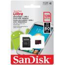メール便可 SanDisk microSDXC 128GB class10 Ultra UHS-I 80MB/s SD変換アダプター付属 SDSQUNC-128G サンディスク 海外パッケージ品