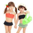子供水着女の子水着キッズ90100110120130140cmビキニスイムキャップ付き3点セットジュニアベビーガールズ花柄