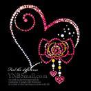 【スパングル】 スパンコールモチーフ (ピンクハートとリボンの飾りモチーフ)