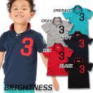 キッズ 男の子 BIG3ツイルワッペン鹿の子半袖ポロシャツ 子供服 BR-033  WH-3