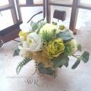 グリーンカラーフラワーアレンジメント メッセージ誕生日記念日内祝い母の日父の日敬老成人式七五三発表会結婚式引き出物