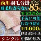 合い掛け布団 羽毛 シングル 西川 洗える ダウン85% 羽毛が片寄らない 京都西川 羽毛洗浄値2倍 送料無料
