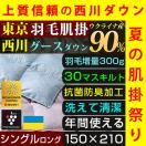 肌掛け布団 シングル 西川 羽毛 ウクライナ産 グース ダウン90% 日本製 洗える ダウンケット プラズマクラスター 抗菌防臭 送料無料