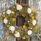ナチュラルリース -ホワイトローズモケ- 30cm (リース 花 バラ 玄関 おしゃれ 春 インテリア 壁掛)