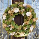ナチュラルリース -グリーンホワイトナチュラルモケ- 33cm (リース 花 バラ 玄関 おしゃれ 春 インテリア 壁掛)