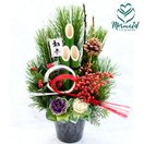 お正月 迎春 門松 花  生花 門松アレンジ 縁起物が入った正統派 アレンジ 正月飾り