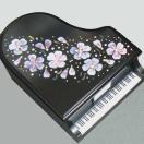 曲目選択 ピアノ型(さくら)黒 トールペイント小物入れオルゴール