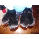 海外セレクション 手袋 ミトン ブローブReal ブラック Fox Fur グローブ Mittens