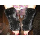 海外セレクション 手袋 ミトン ブローブレディース Real  ブラック Mink Fur ウインター Fingerless グローブ Mittens Arm スリーブ ブラック