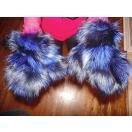 海外セレクション 手袋 ミトン ブローブブルー and ブラック Fox Fur グローブ Mittens Soft and Furry