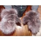 海外セレクション 手袋 ミトン ブローブReal ブラウン Fox Fur グローブ Mittens Soft and Furry