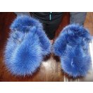 海外セレクション 手袋 ミトン ブローブReal ライト ブルー Fox Fur グローブ Mittens Soft and Furry