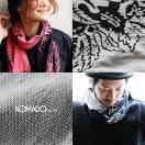 (ノマド) NOMADO タオルストール 「日本 今治産」ジャガード織り リーフ総柄 ダブルガーゼ