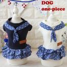 ◆均一セール SALE 特価品◆犬 服 犬服 ドット 水玉 ワンピース 小型犬 XS S M L ネイビー ホワイト