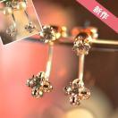 ピアス レディース バックキャッチ フープ揺れる フラワー  パール 真珠 ビジュー  一粒ダイヤ 可憐に咲く四枚花 スワロフスキー 18KRGP 4タイプ展開