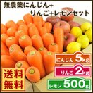 (送料無料)無農薬にんじん野菜セット(無農薬にんじん5kg+りんご2kg+レモン500g)(にんじんジュース キット)(コールドプレスジュース用) (朝食キット)
