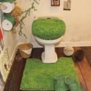 北欧シャギートイレタリー(2点セット)マット+洗浄暖房ウォシュレットフタカバー(芝生 60×60)SHIBAHU おしゃれ かわいい ナチュラル