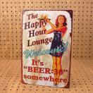 看板 サインプレート サインボード アメリカン ガレージ ビール セクシー 男前インテリア The Happy Hour Lounge サイズS メール便OK_SP-Z5342-FEE