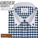 ワイシャツ Yシャツ メンズ長袖・半袖 ボタンダウン ドゥエボットーニ ネイビーギンガムチェック  軽井沢シャツ Y10KZB646