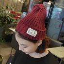 タグ付き リブ ニット帽 帽子 ニットキャップ ビーニー シンプル無地 カジュアルアイテム