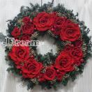 大輪ローズかのん! クリスマス 真っ赤な薔薇の艶やかなリース!!