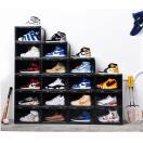 Sneaker Box タワーボックス TOWER BOX  シューズ ボックス 靴箱 ブラック、クリアケース 6個1セット