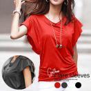 セール ラッフルスリーブ カットソー Tシャツ 袖フレア ギャザー シンプル 半袖 デザイン トップス レディース (t035) SALE