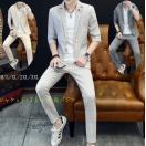 夏用紳士用5分袖スーツ+長パンツ+TシャツセレモニーフォーマルOL通勤結婚式リクルートスーツ3点セット面接メンズ薄手