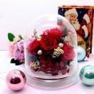 アジサイのインテリア ドームアレンジレッド クリスマス 母の日 プチギフト